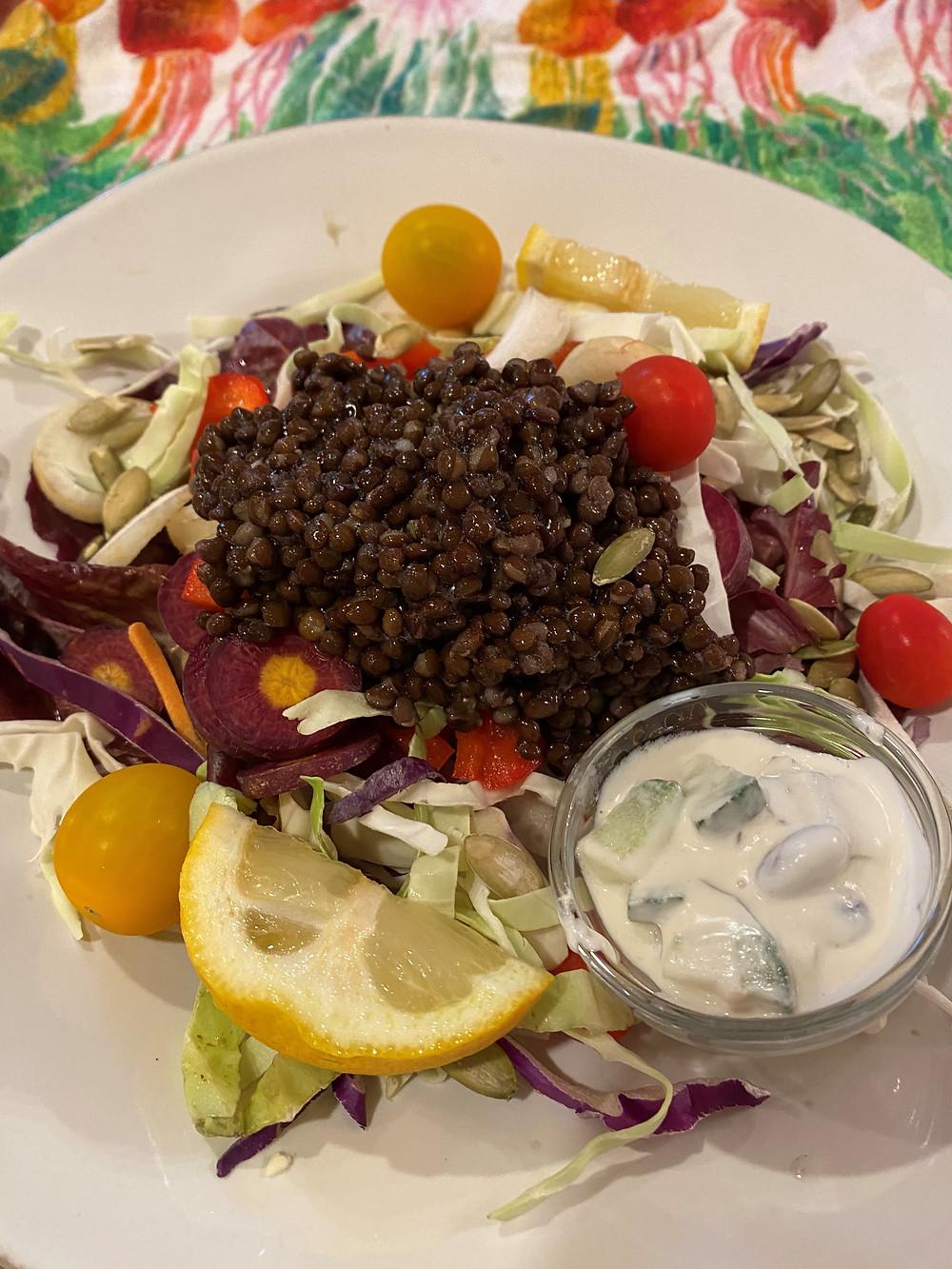 Lentil and cabbage salad