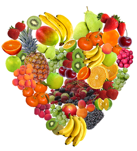 Fruit set up in the shape of a heart.