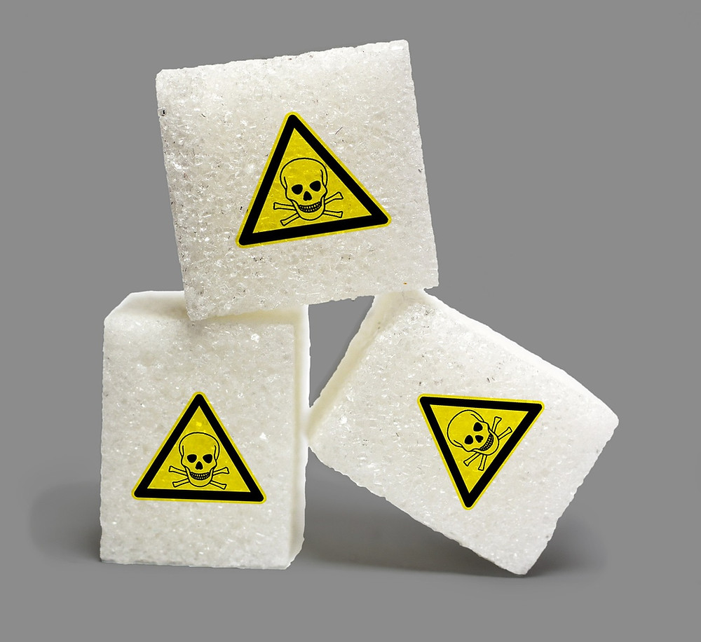 Sugar cubes with skull and crossbones on them.