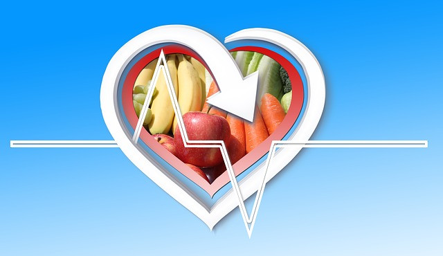 Heart outline with fruits and vegtables