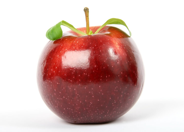red apple on white backround