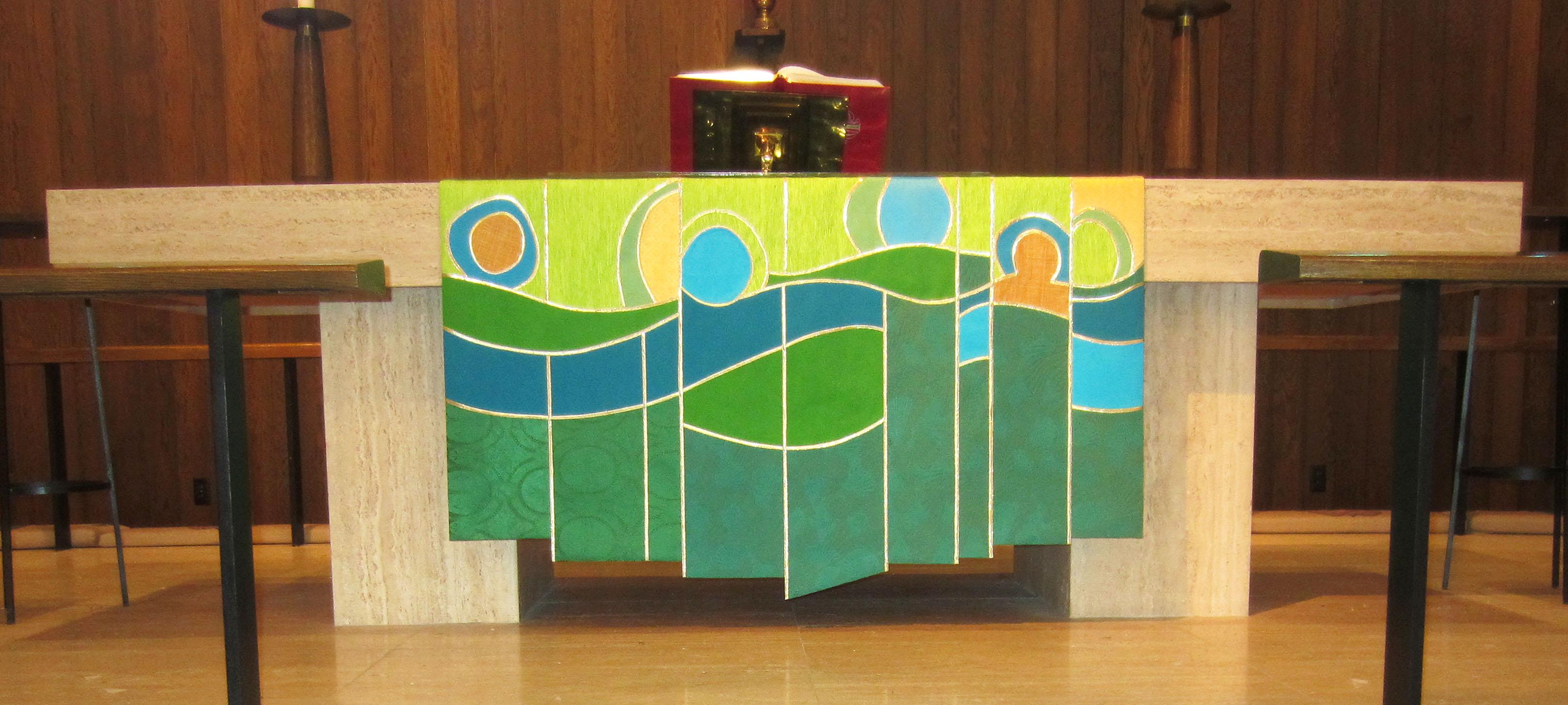 Green season parament for altar