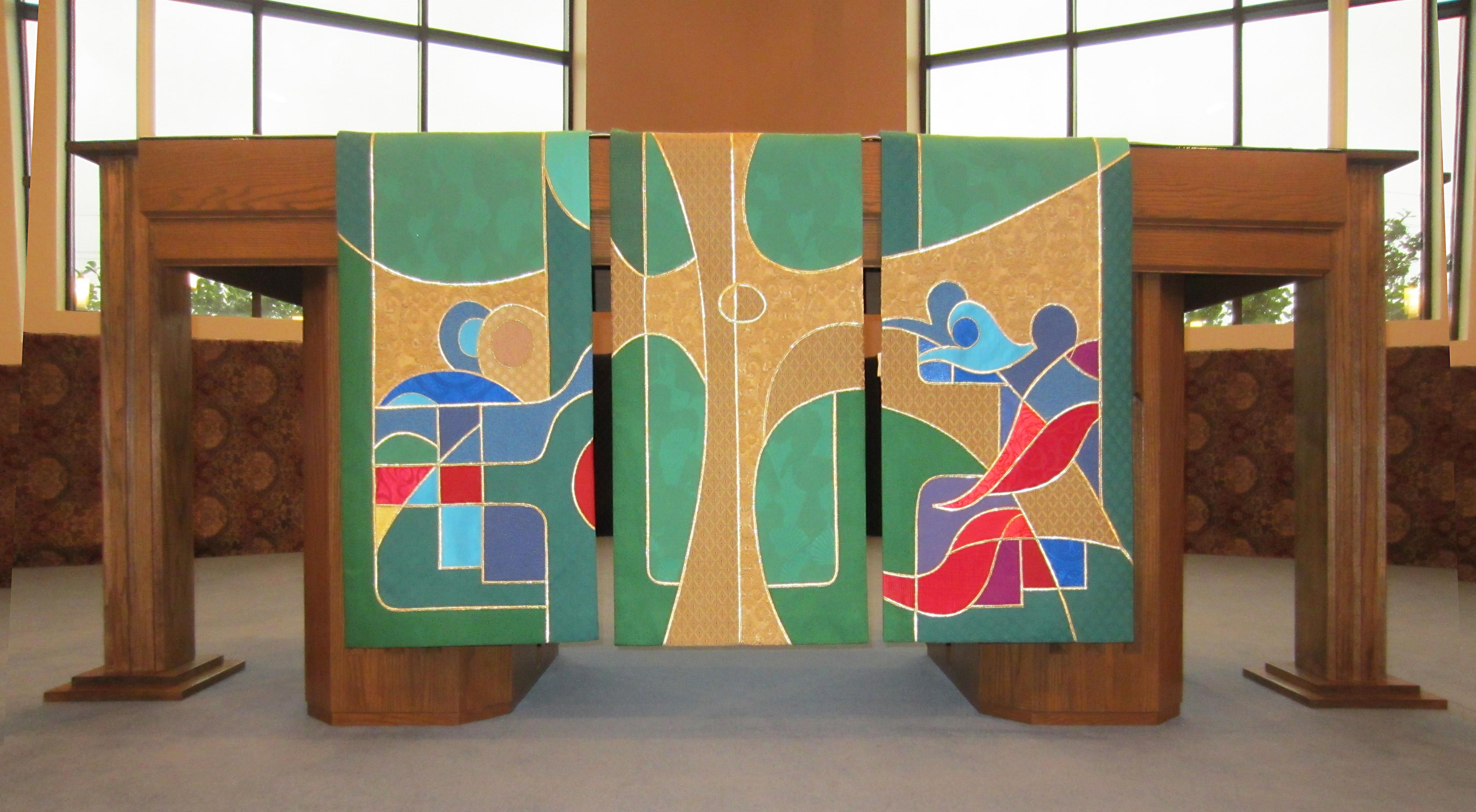 Green season 3-panel altar frontal