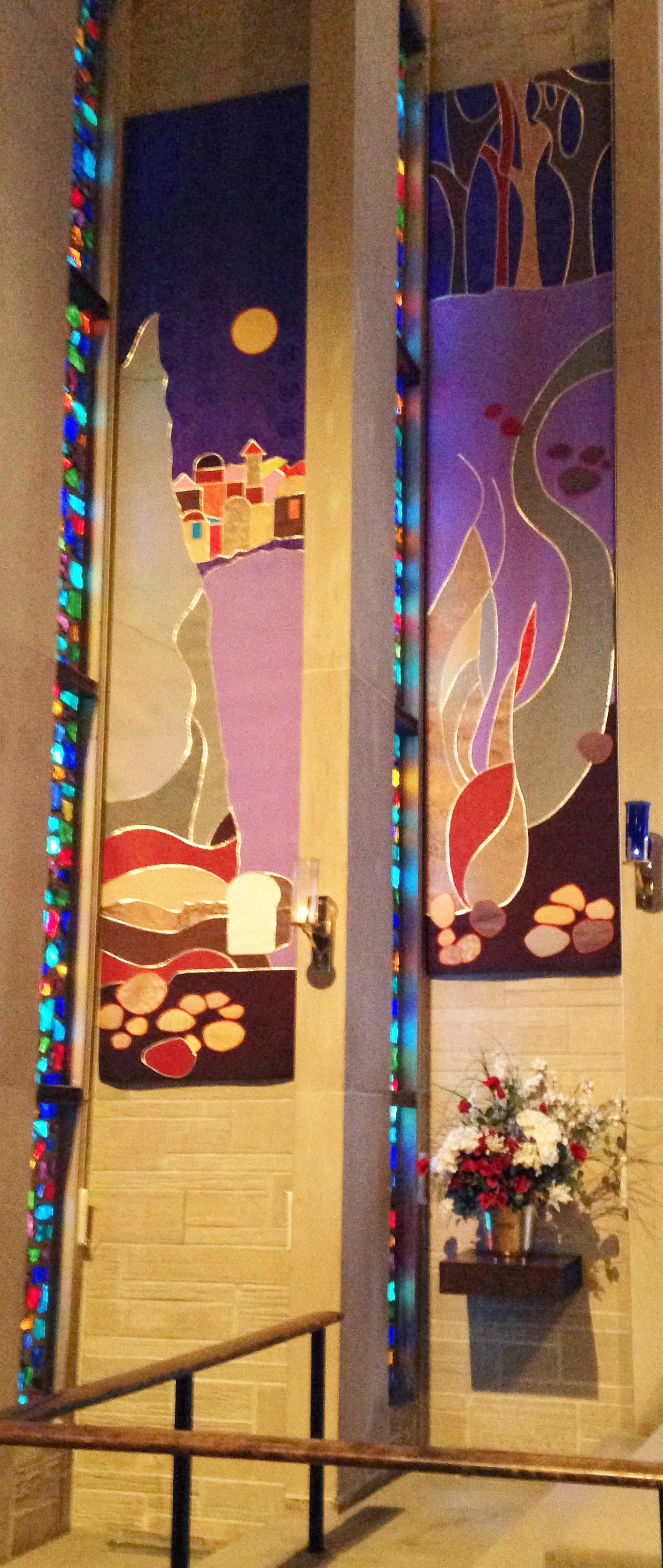 Lenten panels  and stained glass