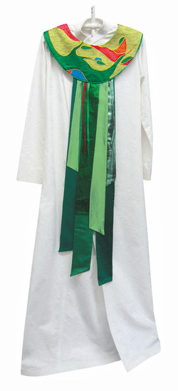 Green custom stole with panels