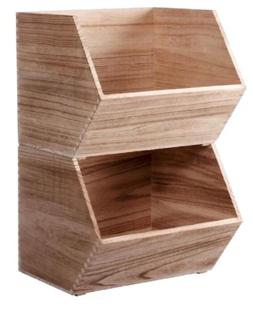 Stackable Wooden Bins