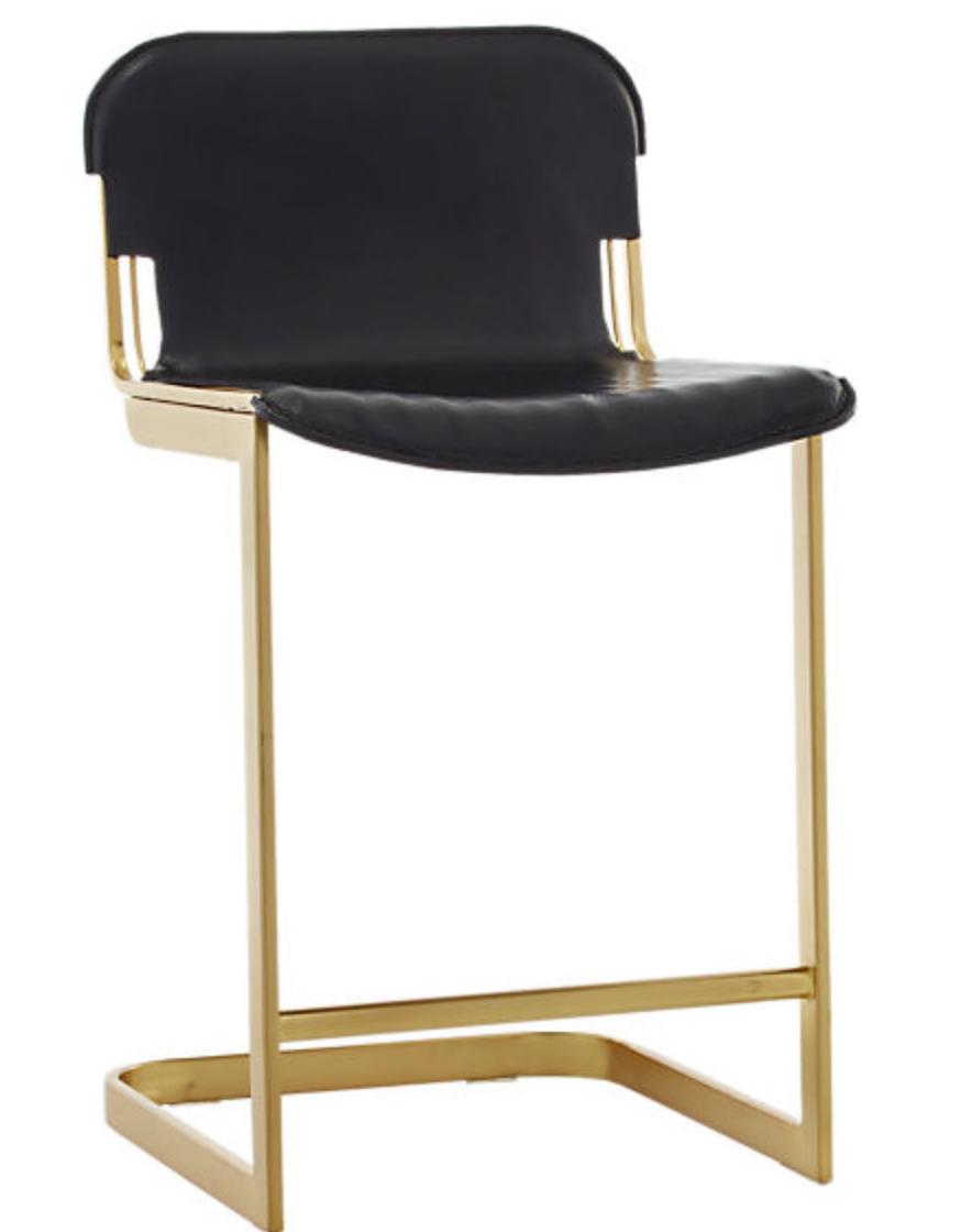 cb2 leather stool