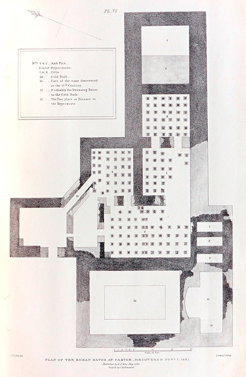 Plan of Castor Roman Baths - Artis - NVAT