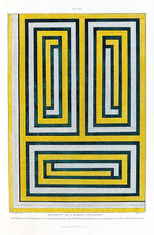 Yellow, Black and White Mosaic Roman Pavement - Artis - NVAT