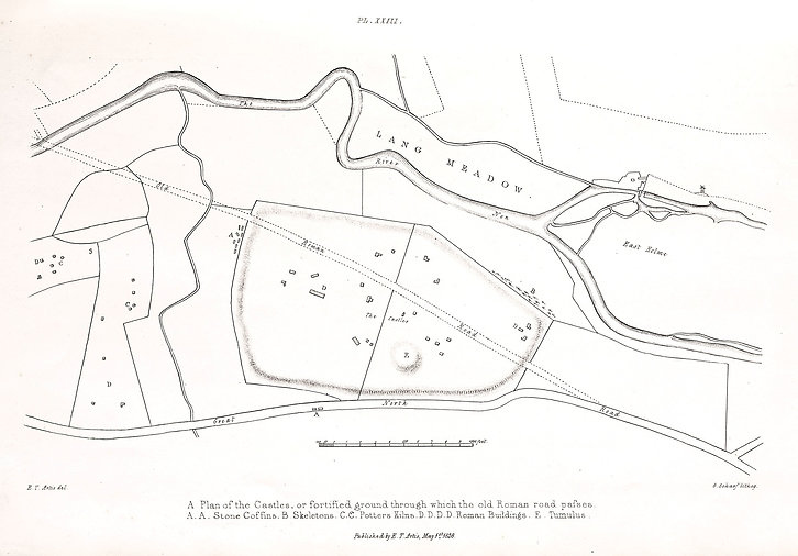 P23.Plan of castles, old roman road pass