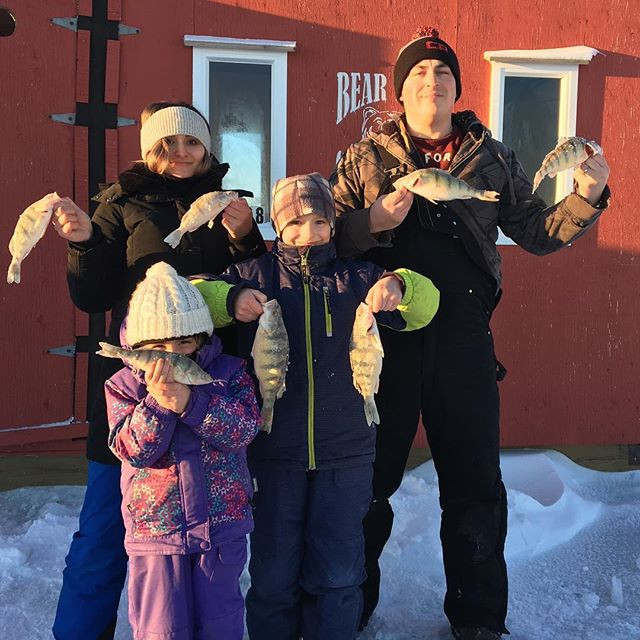 A fun family day at the ice hut! Thank you Beartrak Outfitters! Can't wait for a fish fry tomorrow!!!!! #fishingpicoftheday #walleye #beartr