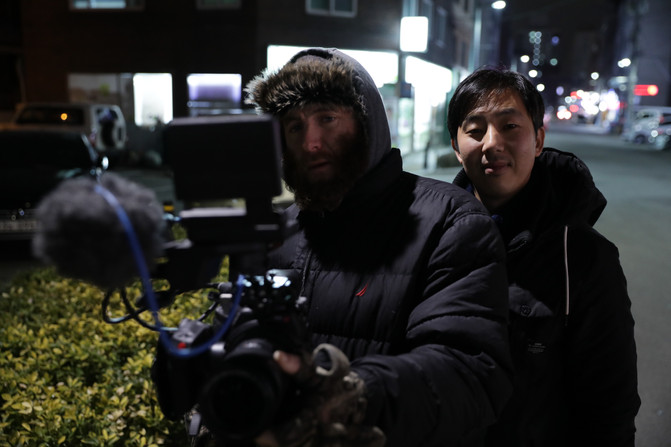 Kevin and Ted filming in Seoul