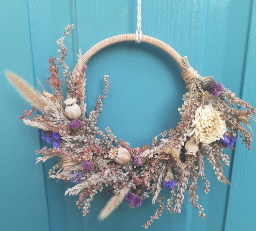 Pretty in Pink Dried Flower Wreath