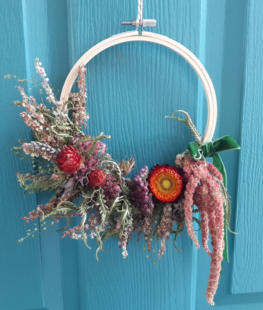 Ruby Tuesday Dried Flower Wreath