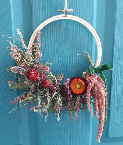 Ruby Tuesday Dried Flower Wreath