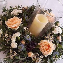 Rose, nigella and waxflower fresh wreath