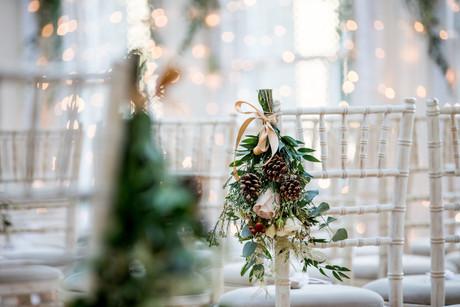 Winter wedding chair decoration
