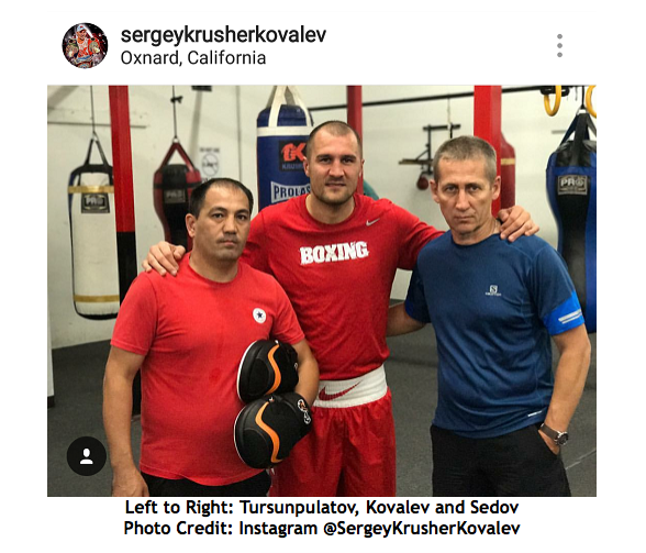 Left to Right: Tursunpulatov, Kovalev and Sedov Photo Credit: Instagram @SergeyKrusherKovalev