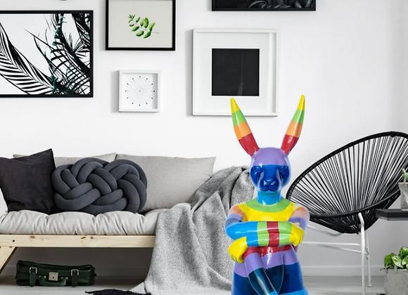 Rainbow Lost Rabbit (Fibreglass Sculpture)