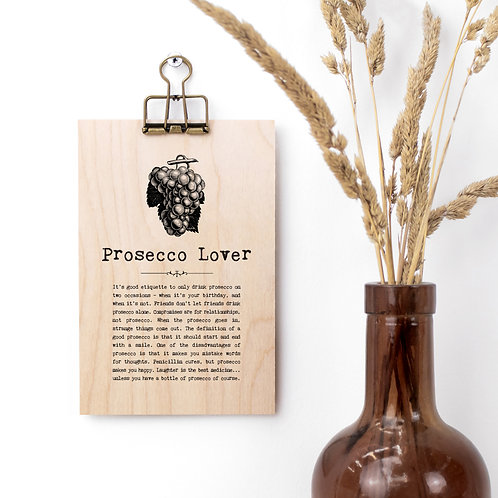 Prosecco Quotes Mini Wooden Sign with Hanger