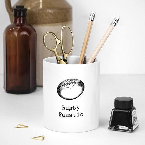 Rugby Fans White Ceramic Pen Pot
