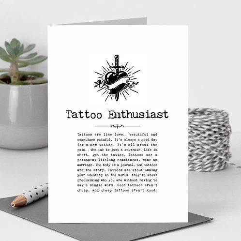 Tattoo Enthusiast Vintage Words Greeting Card x6