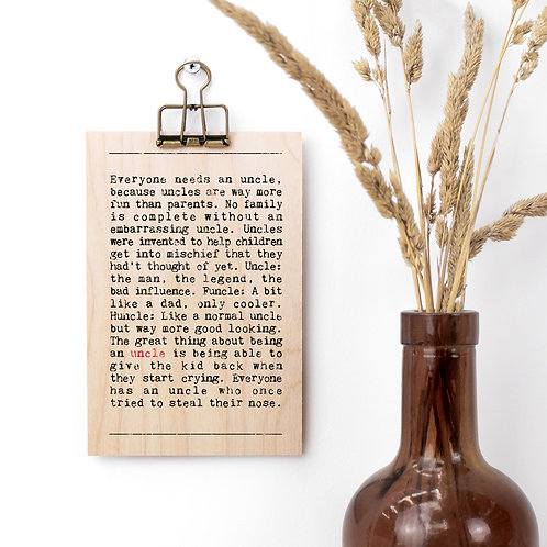 Uncle Gift Mini Wooden Sign with Hanger