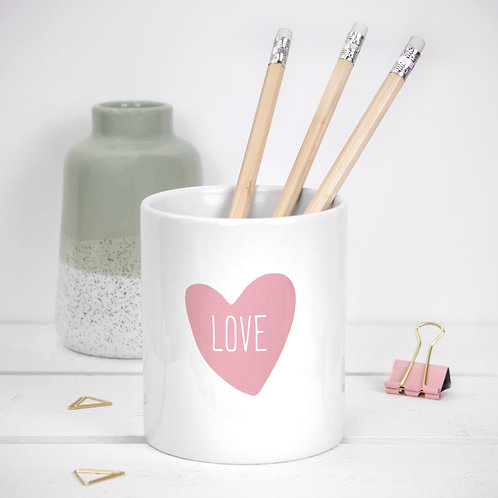 Love Heart Pink Ceramic Pot