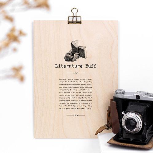 Literature Buff A4 Wooden Quotes Plaque x 3