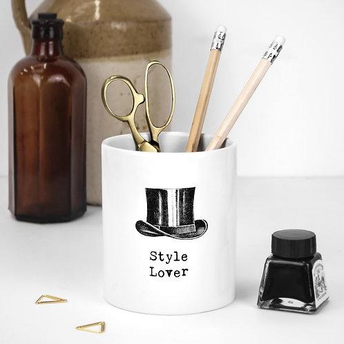 Style Lover White Ceramic Pen Pot for Him
