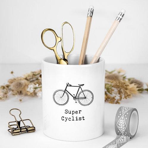 Cycling White Ceramic Pen Pot