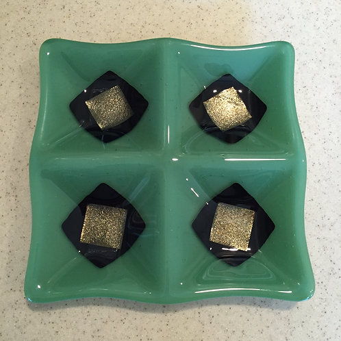"Green Four Square Plate 8"" x 8"""