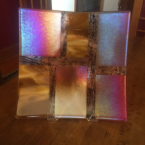 "15"" sq Dish Iridescent Glass"