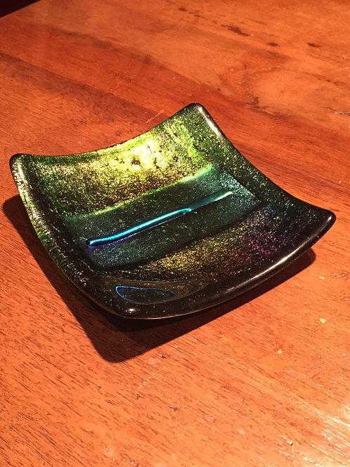 "6"" sq Dish Iridescent Glass"