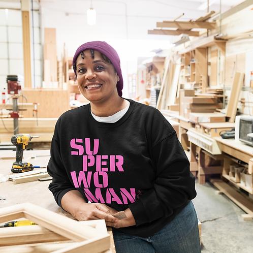 Pink Text SuperWoman Unisex Heavy Blend™ Crewneck Sweatshirt