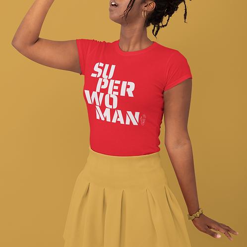 White Text SuperWoman Jersey Short Sleeve Tee