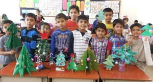Children making christmas tree and Tiara