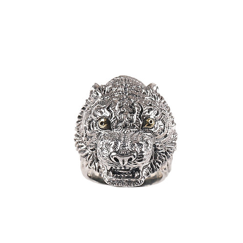 925 sterling silver tiger goth punk ring