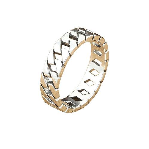 925 sterling silver punk hardcore braided fashion ring