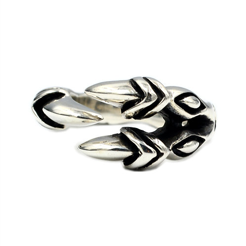 925 sterling silver claw goth punk ring