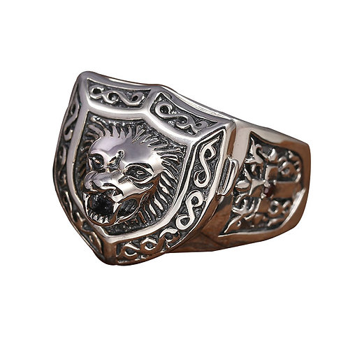 925 sterling silver lion punk rider ring