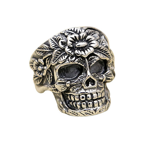 925 sterling silver skull punk rider ring