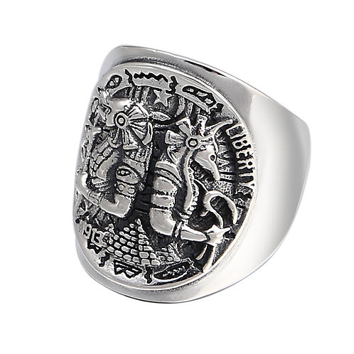 925 sterling silver punk hardcore rider ring