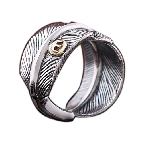 925 sterling silver feather goth punk ring