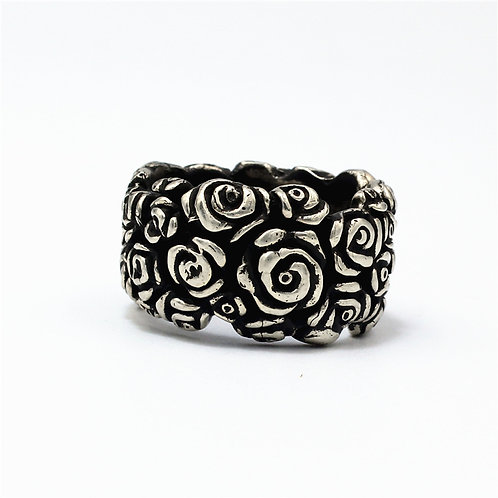 925 sterling silver rose goth punk ring