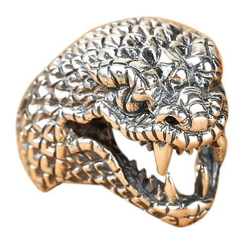 925 sterling silver snake goth punk hardcore rider ring