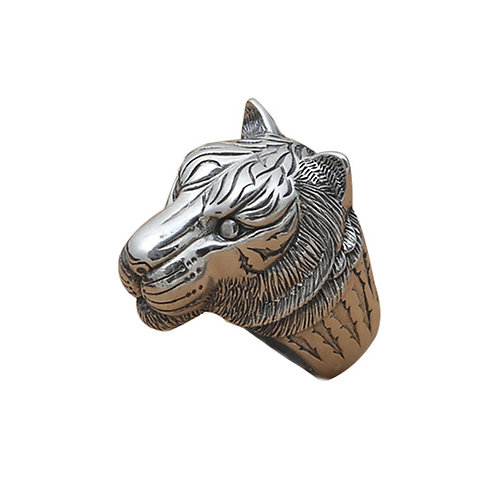 925 sterling silver Leopard head punk rider ring