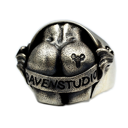 925 sterling silver ass goth punk ring