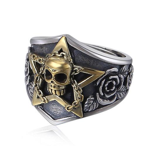 925 sterling silver skull goth punk hardcore rider ring