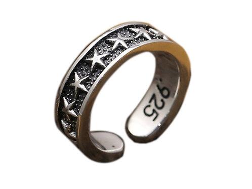 925 sterling silver star goth punk ring